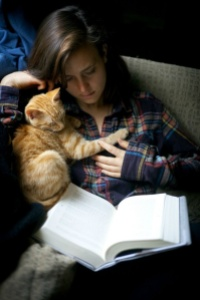 Reading with cat
