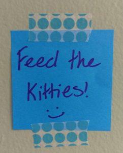 Post-it saying Feed the Kitties!